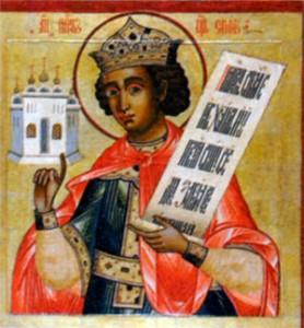Царь Соломон, держащий в руках изображение храма. Икона из церкви Преображения в Кижах. XVIII в.