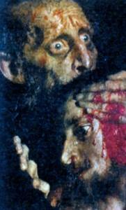 Иван Грозный и сын его Иван 16 ноября 1581 года. Фрагмент. Художник И. Е. Репин. 1885 г.