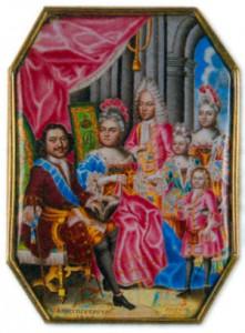 Семья Петра I в 1717 году: Петр I, Екатерина Алексеевна, старший сын Алексей Петрович от первой жены, младший 2-летний сын Петр и дочери Анна и Елизавета. Эмаль на медной пластинке