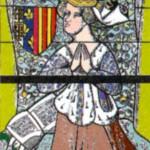 Иоланда Арагонская (1380-1442). Изображение на витраже кафедрального собора в Меце