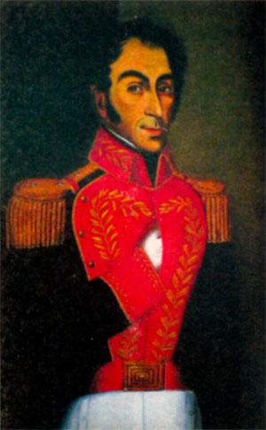 Симон Боливар (1783-1830), президент Великой Колумбии (1819-1830). Художник X. Ловера. 1827 г.