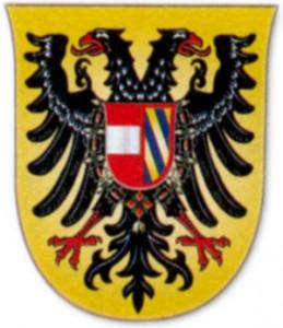 Герб Максимилиана I. Имперский орел и щит с эмблемами Австрии и Бургундии