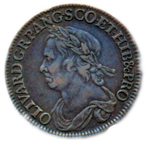 Британская монета в полкроны с изображением Кромвеля. 1658 г.