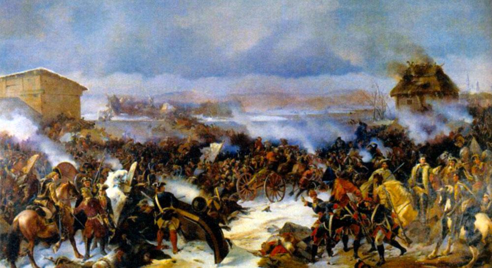 Сражение под Нарвой 19 ноября 1700 года. Художник А. Е. Коцебу. 1846 г.