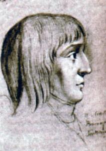 Наполеон в возрасте 16 лет. Рисунок мелом неизвестного автора