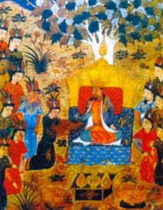 Провозглашение Темучина великим ханом. Миниатюра из рукописи 1430 г.
