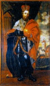 Карл IV, на втором плане - вид замка Карлштейн