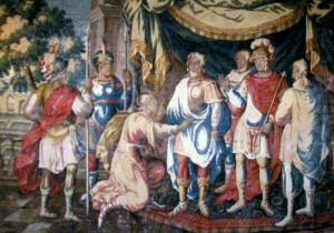 Прибытие Жанны д'Арк d Шинон. Изображение на гобелене