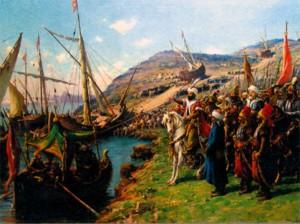 Войска Мехмета II высаживаются на берег.