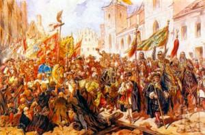 Польский король Ян III Собеский выступает в поход на защиту Вены в 1683 году. Художник К). Козак. 1883 г.