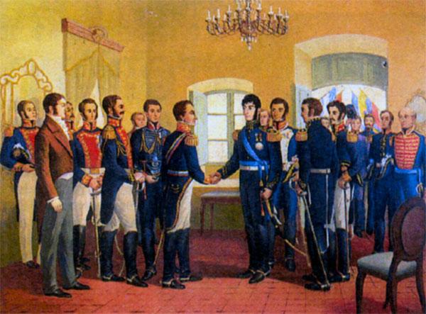 Встреча Боливара (слева) с генералом Хосе де Сан-Мартином в Гуаякиле (Эквадор) 26 июня 1922 года, где было решено начать освободительную кампанию от испанцев