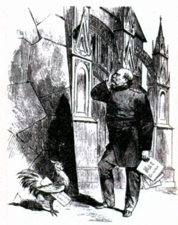Бисмарк-реалист. «Стена каменная. Мой лоб - не железный. Чего ради я буду биться об неё?» Карикатура из журнала «Панч». XIX в.