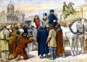 Чтение Манифеста 1861 года Александром II на Смольной площади в Санкт-Петербурге. Художник А. Д. Кившенко