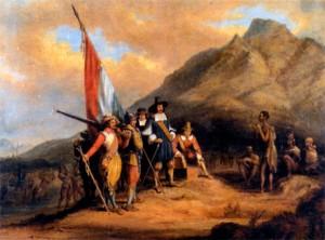 Прибытие Ян ван Рибека в Южную Африку в ап/)еле 1652 года. Художник Ч.-Д. Белл