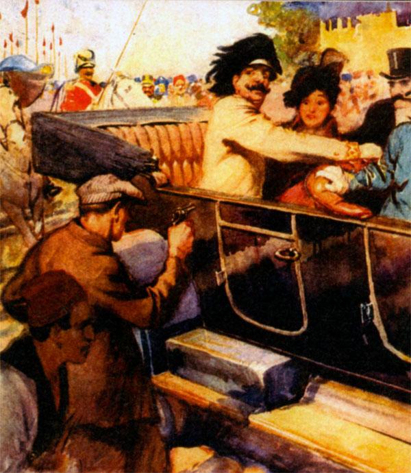 Покушение на Франца Фердинанда в Сараево. Неизвестный художник
