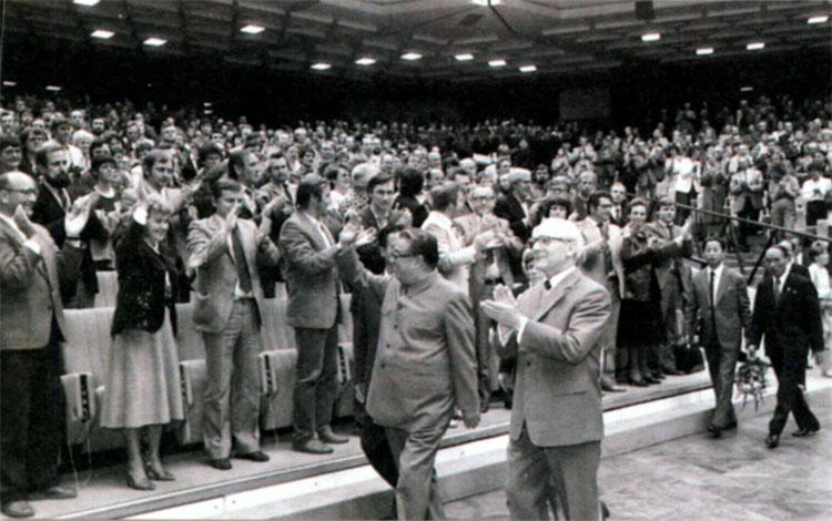 Ким Ир Сен во сремя своего визита в Берлин с Эрихом Хонеккером. 1984 г.