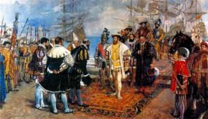 Прибытие Франциска 1 в Италию в 1526 г. Художник И. -П. Камарленх. 1876 г.