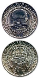 Памятная монета с портретам Густава I, отчеканенная по поводу 400-летия освобождения Швеции от датского господства. 1921 г.