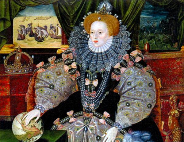Портрет королевы Елизаветы на фоне «Непобедимой армады». Художник Г. Говер. 1588г.