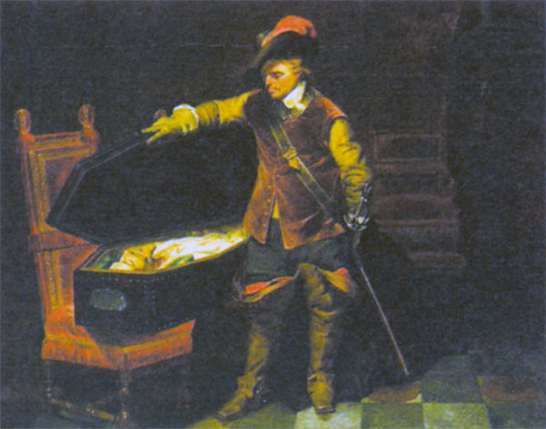 Кромвель у тела короля Карла I. Художник П. Деларош