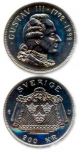 Шведская памятная монета, посещенная 200-летию Густава III. 1992 г.