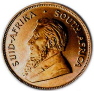 Современная монета ЮАР - крюгеррэнд с портретом П. Крюгера