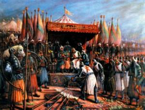 Саладин и Гиде Лузиньян после битвы при Хаттине в 1187 г.