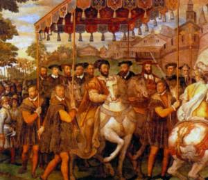 Торжественный въезд императора Карла V, Франциска I и кардинала Александра Фарнезе в Париж в 1540 г. Художник Т. Зукарро 1557 - 1566 гг.