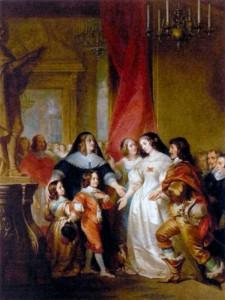 Анна Австрийская с детьми - Людовикам XIV и Филиппом, за ней стоит кардинал Мазарини. Художник Г. Декейсне