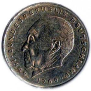 Монета с профилем Аденаэура. 1969 г.