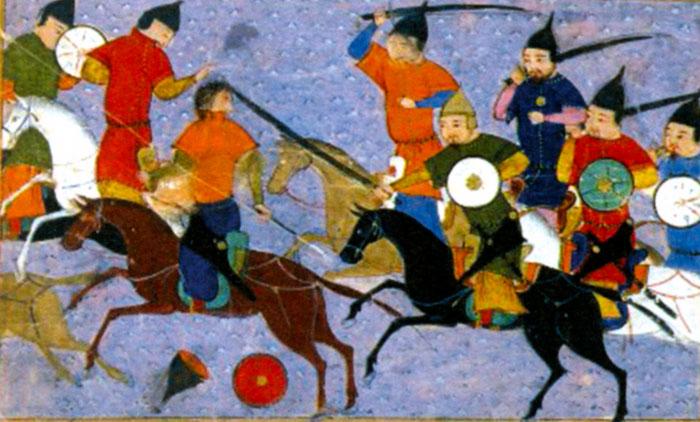 Битва между монголами и китайцами в 1211 г. Миниатюра из рукописи 1430 г.