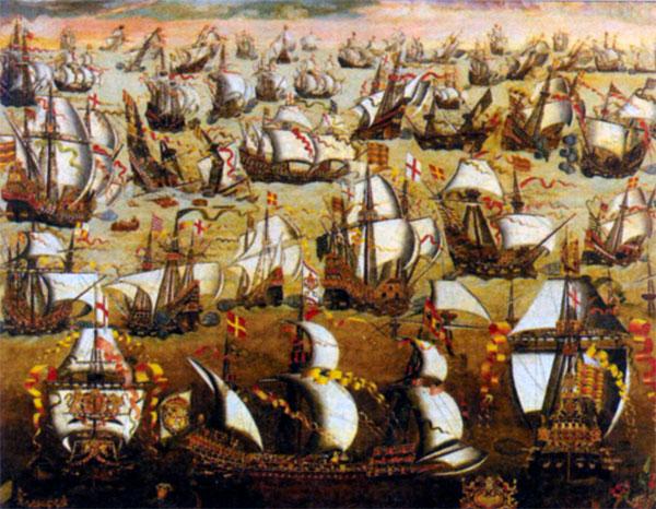 Сражение «Непобедимой армады» с английским флотом. XVI в.