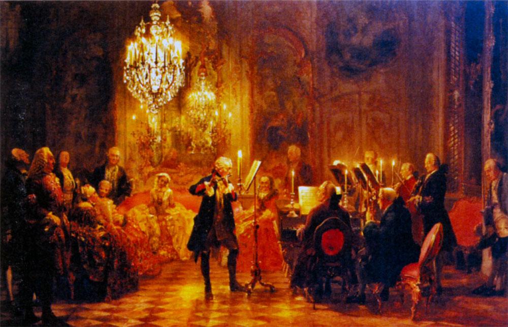 Концерт в Сан-Суси. Художник А. Фон Менцель (в центре на флейте играет Фридрих II)