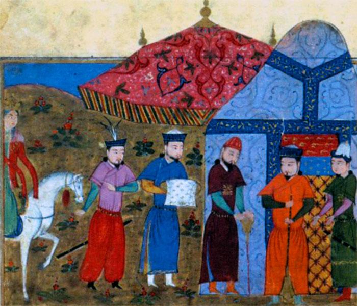 Чингисхан и китайские послы. Рисунок из рукописи 1430 г.