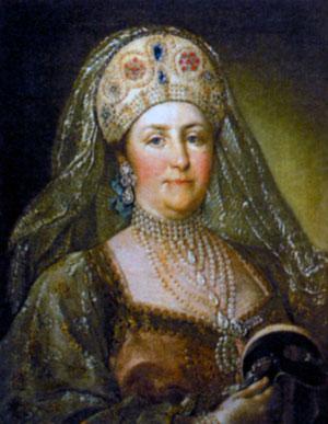 Екатерина II в русском наряде. Неизвестный художник