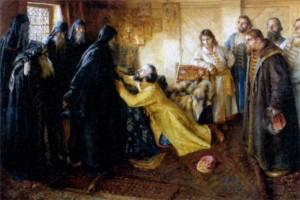 Царь Иоанн IV Грозный просит благословить его в монахи. Художник К. В. Лебедев. 1898 г.